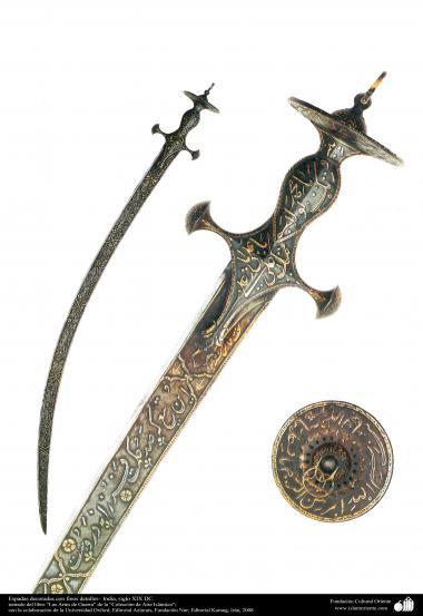 戦争や装飾用の古い道具、細かく装飾されている刀 - インド - 19世紀