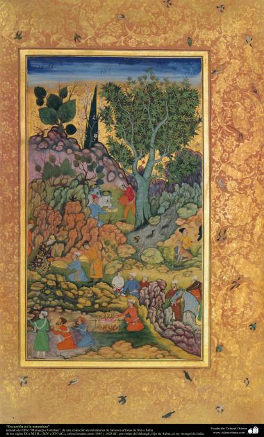 """Randonnée dans la nature"" - livre miniature ""Muraqqa-e Golshan"" - 1605 et 1628 AD."