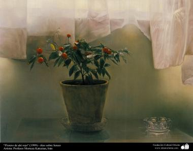 """Art islamique - peinture à l'huile sur toile - artiste: M. Katouzian -""""Fleur de grenade rouge """" - 1999"""