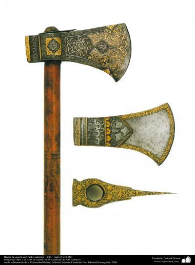 Военные и декоративные инструменты - Антикварная военная секира с рельефной каллиграфией - В 18 в.н.э