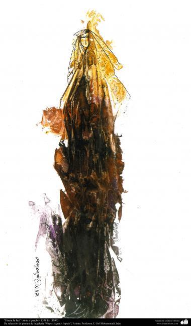 """Arte islamica-Pittura-Inchiostro e guazzo-Scelta dalla galleria di """"Donne,acqua e specchio""""-Artista:Maestro Gol Mohammadi-Nome dell'opera:""""Verso la luce"""""""