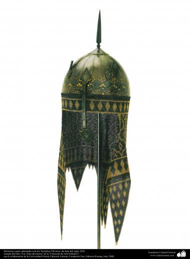 Hermoso casco adornado con los Nombres Divinos; de Irán del siglo XIX