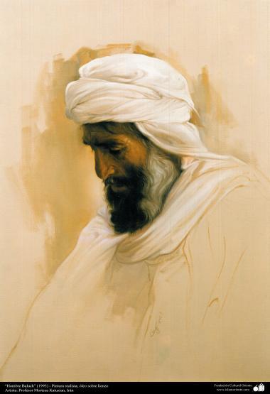 """Baluchi Man(1995) - Realistic Painting; Oil on Canvas- Artist: Prof. Morteza Katuzian"