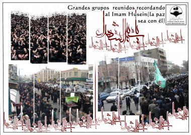 Prozession mit Millionen von Menschen, die die Tragödie von Karbala am Tag der Aschura nachtrauern - Imam Huseyn (a.s.) - Foto