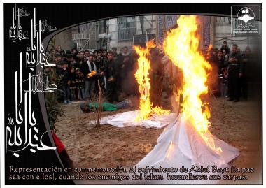 Feinde des Propheten Muhammed (a.s.) verbrannten die Zelte seiner Familie in Karbala - Theatralische Aufführung - Imam Huseyn (a.s.) - Foto