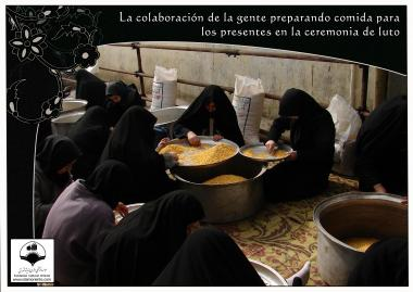 Women preparing food to be distributed on the day of Ashura