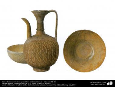 Jarra y fuentes con motivos geométricos- cerámica islámica – siglo XII dC. (15)