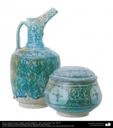 Jarra y vasija con motivo vegetal– cerámica islámica –  Irán o Asia Central- siglo XIII dC. (16)