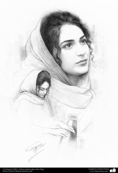 """Arte islamica-Pittura-Olio su tela-Opera di maestro Morteza Katusian-""""La pianista""""-2007"""