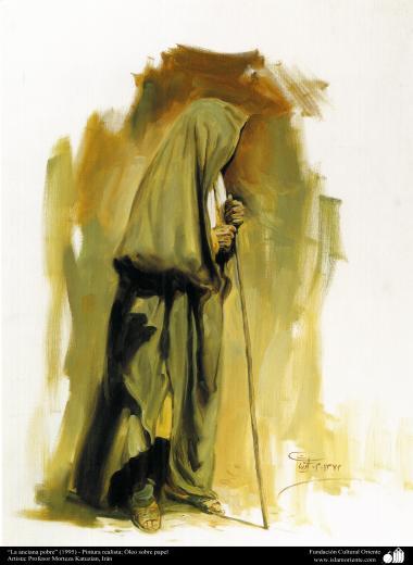 """""""La pauvre vieille femme"""" (1995) - Peinture réaliste; Huile sur papier Artiste: Professeur Morteza Katuzian, Iran"""