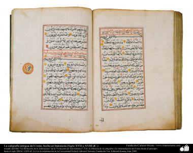 イスラム美術 - ペルシアのタズヒーブ(Tazhib)、書道(アフリカの北で作られた古いバージョンのコーラン) (17世紀後半)