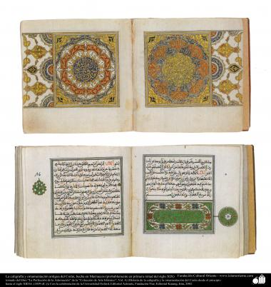 イスラム美術 - ペルシアのタズヒーブ(Tazhib)、古代書道とコーランの装飾(19世紀前半にモロッコで作られているもの)