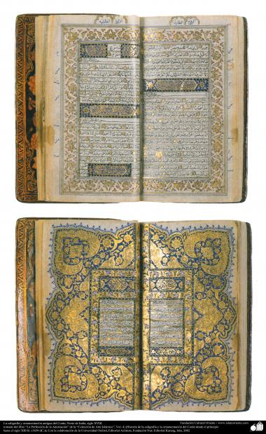 イスラム美術 - ペルシャのタズヒーブ(Tazhib) -   コーランの飾る古代書道 -インドの北側、18世紀