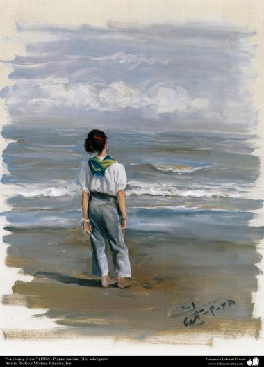 """""""La chica y el mar"""" (1989) - Pintura realista; Óleo sobre papel- Artista: Profesor Morteza Katuzian, Irán"""