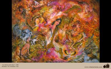 "اسلامی فن - استاد فرشچیان کی ایک مینیاتور پینٹنگ (تصویرچہ)، ""پیار کی میوزیک"" - ایران"