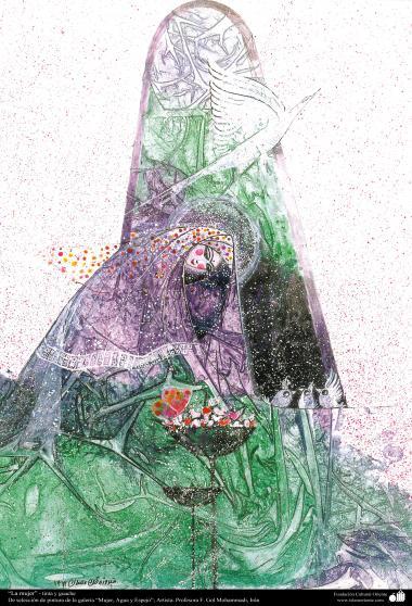 イスラム美術-絵画、インク・ガッシュ(ゴルモハマデイ画家の「女性、水と鏡ギャラリ」からの絵画)、「女」という作品