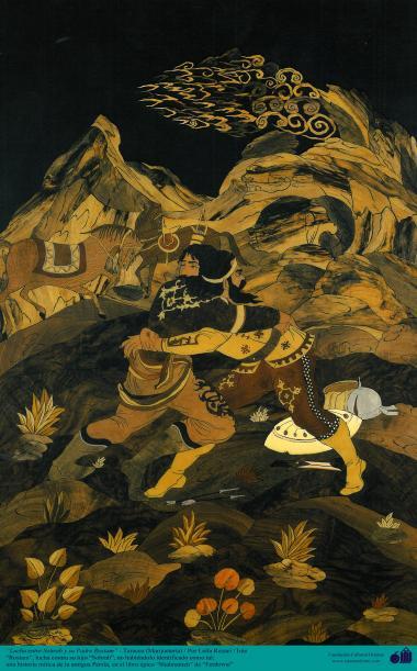 """Luta entre """"Sohrab"""" e seu pai """"Rostam"""" - Figura mística da antiga Persia e personagens do épico Shahnameh - Marchetaria Persa"""