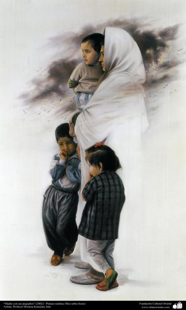 """""""Mother with her little kids"""" (2002) - Realistic Painting; Oil on Canvas- Artist Prof. Morteza Katuzian, Iran"""
