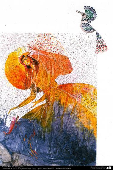 """هنراسلامی - نقاشی - جوهر و گواش - انتخاب نقاشی از گالری """"زنان، آب و آینه"""" - اثر استاد گل محمدی - نام اثر : مادر خورشید"""