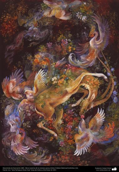 イスラム美術(マフムード・ファルシチアン画家によるミニチュア傑作 - 「湧き水」- 1984