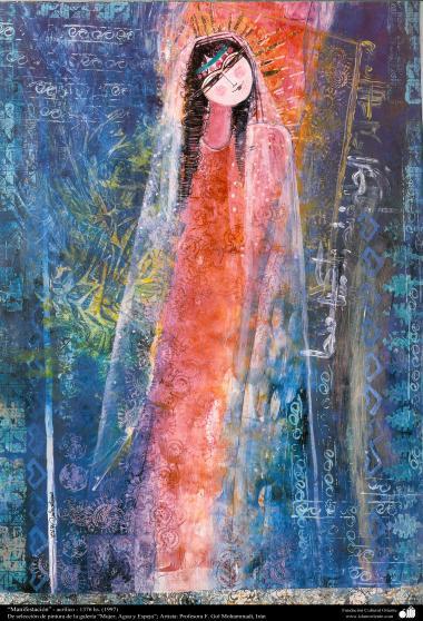 イスラム美術-絵画、インク・ガッシュ(ゴルモハマデイ画家の「女性、水と鏡ギャラリ」からの絵画)、「Tajalli」という作品