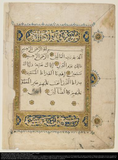 Manuscrito del Sagrado Corán, caligrafía islámica - estilo Naskh