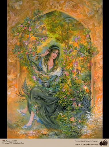 Mediação- Caligrafia Pictórica Persa. Óleo e tinta sobre lona. N. Afyehi. Irã