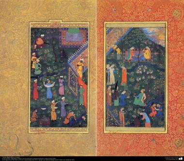 هنر اسلامی - شاهکار مینیاتور فارسی - سلطان حسین میرزا در تفریح - کتاب کوچک مرقع گلشن - 1605،1628