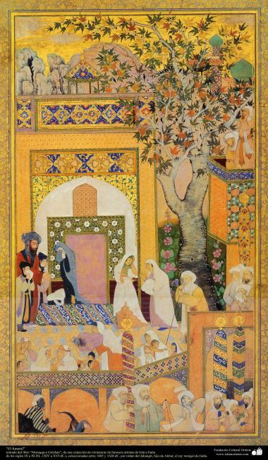 """اسلامی فن - ایران اور ہندوستان کے فنکاروں کی ایک مینیاتور پینٹنگ (تصویرچہ) کا نمونہ، """"تشیع جنازہ"""""""