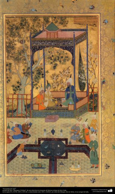 Miniatura - Encontro de Asif, retirado do livro Muraqqaq-e Golshan, século XIV - XVI d.C -1