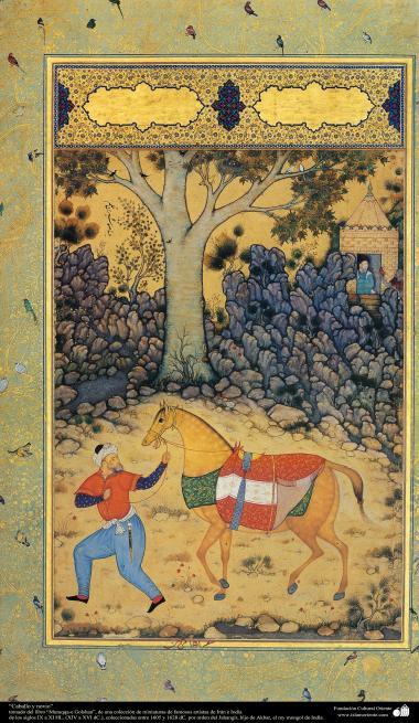 """اسلامی فن - """"مرقع گلشن"""" نام کی مختلف فنون کی تاریخی کتاب سے ایک مینیاتور پینٹنگ (تصویرچہ)، """"دولہا اور گھوڑا"""" - سن ۱۶۰۵ء"""