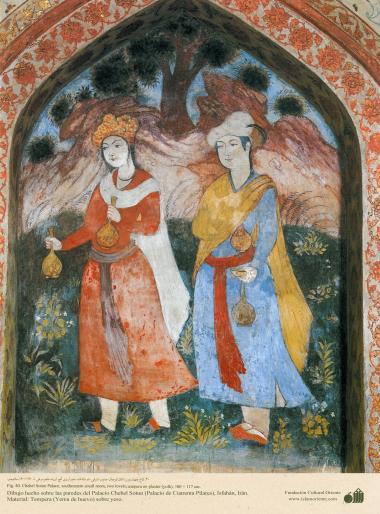 ミニチュア - 壁画(イスファハンにおけるチェヘル ソトゥーン宮殿(40柱宮殿)-3