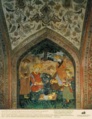 Miniatura en mural de Chehel Sotun (palacio de los Cuarenta Pilares) de Isfahán, Irán -5