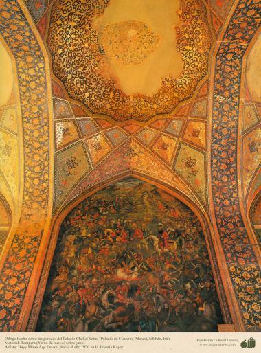 """دیوار پر مینیاتور پینٹنگ - شہر اصفهان میں """"چہل ستون"""" نام کی عمارت میں کاشی کاری اور پینٹنگ ، ایران - ۱۴"""