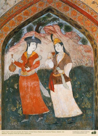 Miniatura en mural de Chehel Sotun (palacio de los Cuarenta Pilares) de Isfahán, Irán - 6
