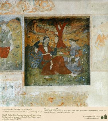 """شہر اصفہان میں """"چہل ستون"""" نام کی پرانی عمارت کی دیوار پر مینیاتور پینٹنگ (تصویرچہ)، ایران - ۵۵"""