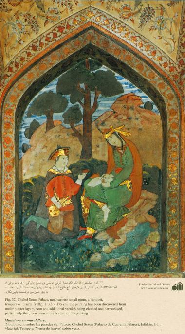 ミニチュア - 壁画(イスファハンにおけるチェヘル ソトゥーン宮殿(40柱宮殿)-30