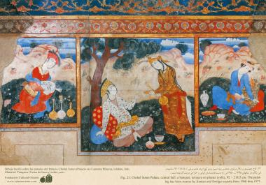 مینیاتور - نقاشی دیواری - چهل ستون (کاخ چهل ستون)  در شهرستان اصفهان - 8