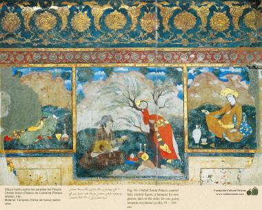 Miniatura en mural persa de Chehel Sotun (palacio de los Cuarenta Pilares) de Isfahán - 5