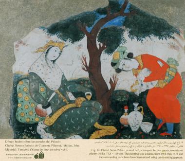 """شہر اصفہان میں """"چہل ستون"""" نام کی پرانی عمارت پر پینٹنگ، ایران - ۴"""