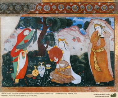 Miniatura en mural persa de Chehel Sotun (palacio de los Cuarenta Pilares) de Isfahán, Irán - 2