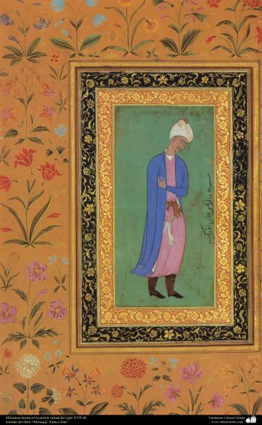 Miniatur erstellt während der ersten Hälfte des XVII Jahrhunderts - entnommen aus dem Buch Muraqqa - Indien und Iran- Islamische Kunst - Miniaturen aus verschiedenen Büchern