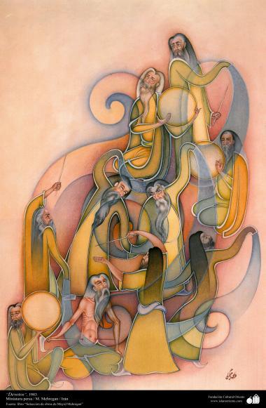 Devotos -1983 Miniatura persa. M Mehregan, Irã - Fonte Livro Seleção de Obras de Mayid Mehregan