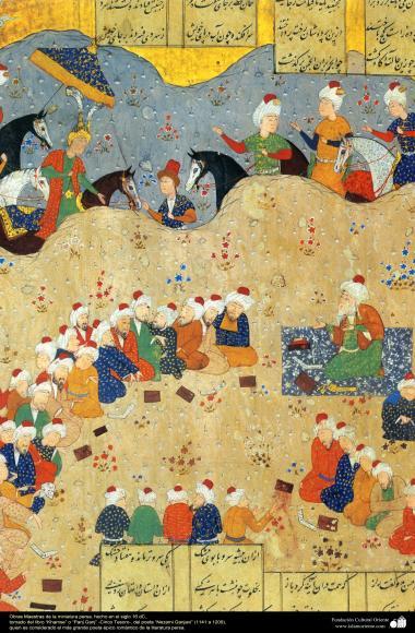 """Persische Miniatur von """"Khamse"""" or """"Pany Gany"""" (Die fünf Schätze) vom Poeten """"Nezami Ganjavi"""" (1141 a 1209) - Miniaturen aus dem Buch """"Pany Gany"""" - Bilder"""