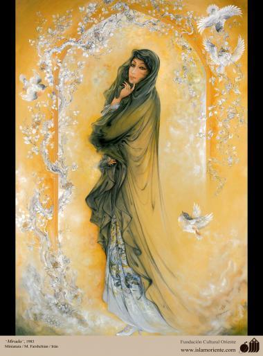 イスラム美術(マフムード・ファルシチアン画家によるミニチュア傑作 - 「眺め」