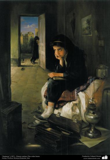 """Arte islamica-Pittura-Olio su tela-Opera di maestro Morteza Katusian-""""Mutamento""""-1987"""