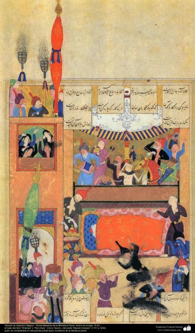 """Arte islamica-Capolavoro di miniatura persiana-Libro di """"Khamse"""" o """"Panj-Ganj"""",poeta """"Nezami Gangiavi""""(1141-1209)-La morte di grande Alessandro-15"""