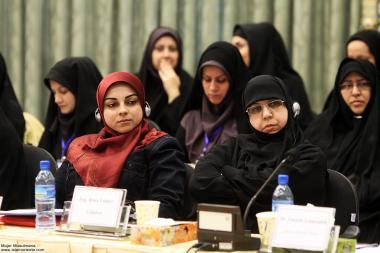 Mulher muçulmana em uma conferência