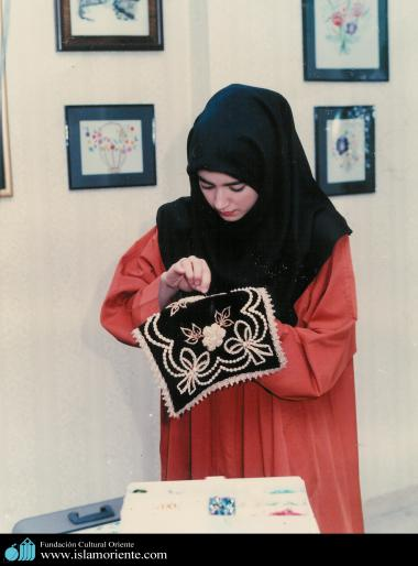 Iranian Muslim Woman and Embroidery with Islamic designs
