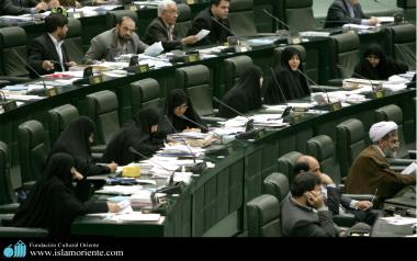 Muslim women in the Iranian parliament.